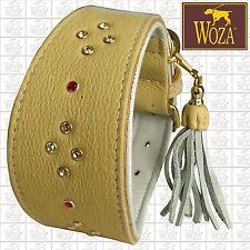 WOZA Premium Greyhound Collar Handmade Full Leather Padded Soft Cow Napa GCS814