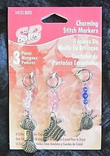3pc Charming Stitch Markers Susan Bates Charms Knit Sweater, Yarn Skein & Ball