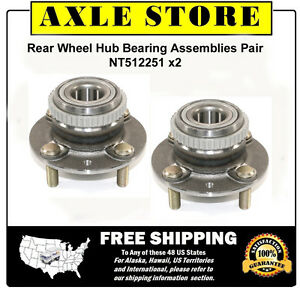 Pair (2) New Wheel Hub Bearing Assemblies for 94-01 Kia Sephia Spectra ABS Rear