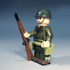 WW2 minifigure US army soldier minifig in M1943 uniform+M1 helmet+M1 Garand+belt