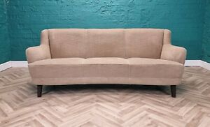 Mid Century Art Deco Vintage Danish Beige Velour 3 Seat Banana Sofa Settee 1940s