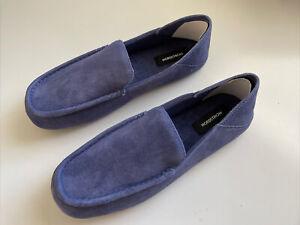 New Mens Nordstrom Brand Designer Suede Moccasin Slippers Shoes Size 13-14 Blue
