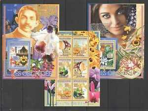 NW0169 2008 GUINEA FLORA FLOWERS ORCHIDS MAHATMA GANDHI !!! 2BL+1KB MNH