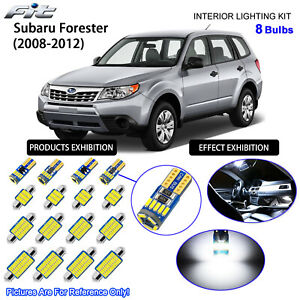 8 Bulbs LED Interior Dome Light Kit Cool White For SH 2008-2012 Subaru Forester