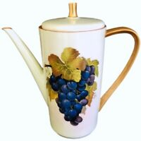 "Hutschenreuther Selb Bavaria 9.5"" Tea Coffee Pot Signed Floy Jones Grapes Gold"
