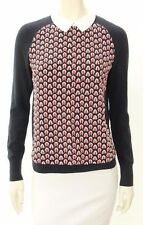 Beautiful TORY BURCH Navy & Orange Embroidered Collared Sweater Size S/P
