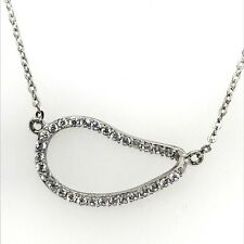 Sterling Silver Rhodium Plated Pave Set Clear CZ  Sideways Teardrop Necklace.