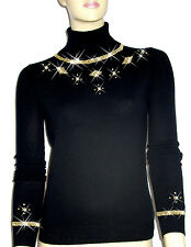 Luxe Oh` Dor 100% Cashmere Sweater Luxury Manhattan Luxe Black Gold 50/52 XL