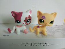 Littlest Pet Shop kitty Short Hair cat LPS toys original flower on face&pink cat