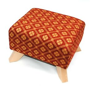 BIAGI UPHOLSTERY & DESIGN RICH TERRACOTTA AND GOLD JAQUARD DIAMOND CHENILLE