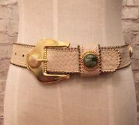 """Leatherock Women's Belt Cream Leather Woven Pattern Gem Stones XS (22-26"""")"""