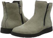 Ecco Womens Bella Zip Boots Warm Grey Nubuck Leather US 8-8.5 EU 39 NEW IN BOX