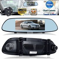 "7"" HD 1080P Dual Lens Car DVR Rear View Mirror Video Camera Recorder Dash Cam"