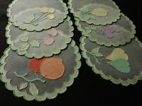 FINE, LOVELY~ FRUITS Vtg Madeira Embroidery 6 Cocktail Rounds Organdy GREEN EDGE