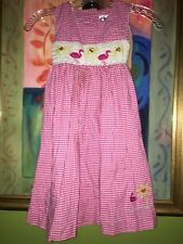 Rare Editions Pink & White Flamingo Smocked Dress Sz 5T