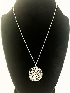 """Silpada Sterling Silver """"A Cut Above"""" Filigree Disc Pendant Necklace N2328"""