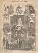 A9275 Giuseppe Verdi e le sue Opere - Xilografia Antica del 1906 - Engraving