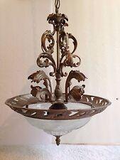 Quorum Cast Brass CHANDELIER Etched Glass PENDANT CEILING LIGHT ENTRY FIXTURE 3