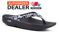 🔥OOFOS OOLALA GEO Black White Sandal Women's Thong Flip Flop Recovery - NEW!
