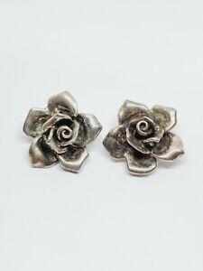 Vintage Israel Sterling Silver Large Rose Flower Clip On Earrings (15)