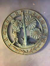 Vintage Cast Aluminum Hummingbird Sundial Fence Yard Art Deco Garden Metal