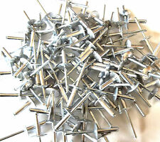 "100 LARGE FLANGE ALUMINUM POP RIVETS 3/16"" X 3/4"" BIG HEAD STEEL POST PTC27546"