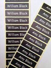 300 Black Printed Name Labels/Tapes Iron-On School tag Soft satin fabric