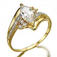 Size 6-10 Womens White Topaz 18K Gold Filled Wedding Engagement Ring Gift