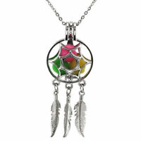 Dream Catcher Pearl Cage Floating Locket Pendant Necklace NO Akoya Oyster Pearl