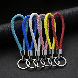 1X Braided PU Leather Braided Keychain DIY Bag Pendant Keyring Holder Car chain