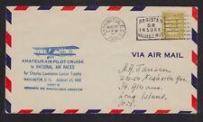 USA 1932 NATIONAL AIR RACE AMATEUR AIR PILOT CRUISE AIRMAIL COVER WASHINGTON DC