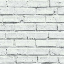Realistic 3D Brick Effect Wallpaper White/Grey 623004 Free Postage