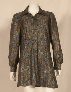 70'S FRENCH VINTAGE PRINT TUNIC / MINI-DRESS UK 14/16 - FR 42/44
