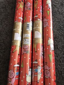 M&S Percy Pig Christmas gift wrap Wrapping Paper 4 ROLLS x 4 metres