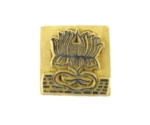 "Lotus Flower 1-1/2"" Hand Carved Wood Block Stamp Art Tibetan Buddhist Nepal"