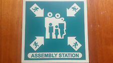 Glow in the dark ASSEMBLY STATION Al sign 300mm x 300mm