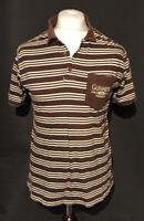 GUINNESS Men's Polo T Shirt Brown Striped Short Sleeve M 100% Cotton