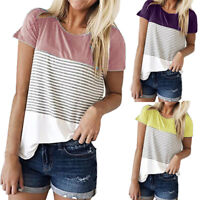 Women Short Sleeve Cotton Color Block Stripe T-shirt Casual Blouse Tops Shirt