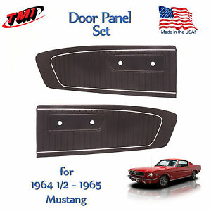 Black Vinyl Door Panels for 1964 1965 Mustang by TMI - Made in the USA  In Stock