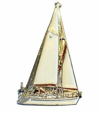 Sailing Ship Yacht Metal Enamel Boat Nautical Badge Lapel Pin or Brooch 30mm