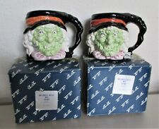 Fitz & Floyd 1987 Halloween Witch Green Face with Salamander Mug Lot of 2 in Box