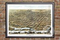 Vintage Dayton, OH Map 1870 - Historic Ohio Art - Old Victorian Industrial