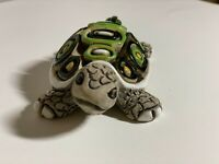 Vintage Artesania Rinconada Clay And Enamel Turtle Figurine Hand Made in Uruguay