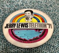 Vintage Jerry Lewis Telethon 1971 Pinback Button Pin-Great Condition