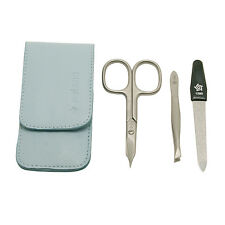 Pfeilring - 3 Piece Manicure Set in Pale Blue Nappa Leather Case
