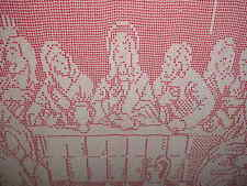 Vintage Large Hand Crocheted Lace Religious Framed Last Supper; Rare Fr. Sh.