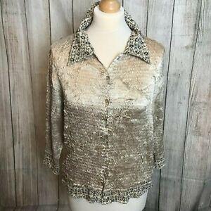 Stunning Gold EMMA SOMERSET Sequin Shirt Blouse Size M (12) VGC
