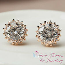 18K Rose Gold Plated CZ 2.0 Carat Extra Sparkling Sunflower Halo Stud Earrings