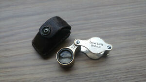 Vintage Lock Magnifier Ernst Leitz Wetzlar 10X Original Leather Pouch