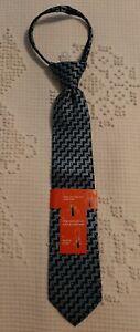 NWT Dockers Zip Neck Tie Boys Stain Resistant Navy Blue Design Church Dress Tie